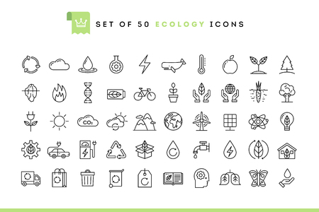 Illustration for Set of 50 ecology icons, thin line style, vector illustration - Royalty Free Image