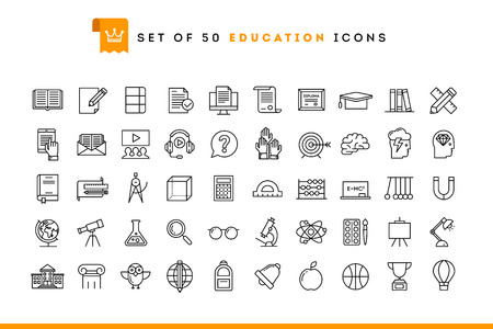 Ilustración de Set of 50 education icons, thin line style, vector illustration - Imagen libre de derechos