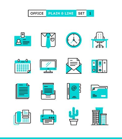 Illustration pour Office things, plain and line icons set, flat design, vector illustration - image libre de droit