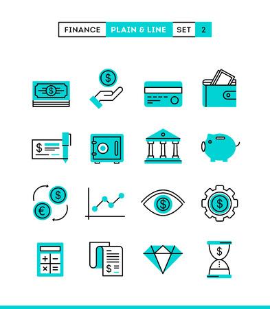 Ilustración de Money, finance, savings...Plain and line icons set, flat design vector illustration - Imagen libre de derechos