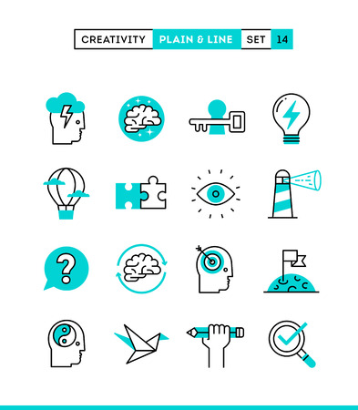 Illustrazione per Creativity, imagination, problem solving, mind power and more. Plain and line icons set, flat design, vector illustration - Immagini Royalty Free