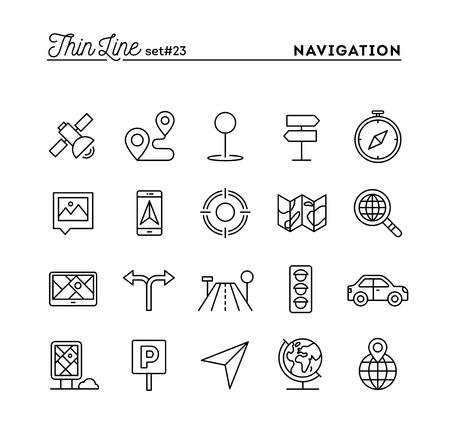 Illustration pour Navigation, direction, maps, traffic and more, thin line icons set, vector illustration - image libre de droit
