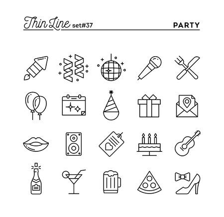Illustration pour Party, celebration, fireworks, confetti and more, thin line icons set, vector illustration - image libre de droit