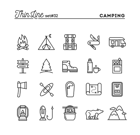 Illustration pour Camping, hiking, wilderness, adventure and more, thin line icons set, vector illustration - image libre de droit