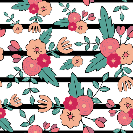 Foto für Beautiful floral seamless pattern with stripes. Perfect for textile, wrapping, web and all kind of decorative projects. Vector illustration. Vector illustration. - Lizenzfreies Bild