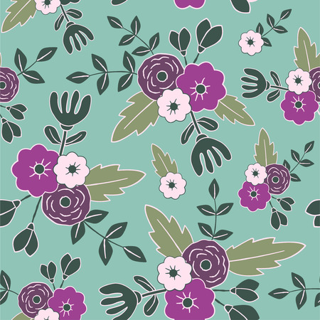 Foto für Beautiful floral seamless pattern. Perfect for textile, wrapping, web and all kind of decorative projects. Vector illustration. Vector illustration. - Lizenzfreies Bild