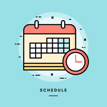 Ilustración de Schedule, flat design thin line banner, usage for e-mail newsletters, web banners, headers, blog posts, print and more. Vector illustration. - Imagen libre de derechos