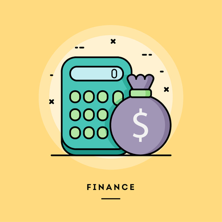 Ilustración de Finance, calculator and a bag of money, flat design thin line banner, usage for e-mail newsletters, web banners, headers, blog posts, print and more. Vector illustration. - Imagen libre de derechos