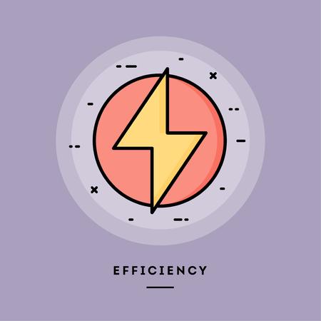 Ilustración de Efficiency, flat design thin line banner, usage for e-mail newsletters, web banners, headers, blog posts, print and more. Vector illustration. - Imagen libre de derechos
