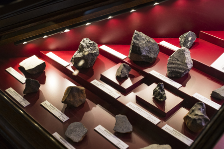 Photo pour 3 SEPTEMBER 2018, VIENNA, AUSTRIA: Collection of meteorites is represented by the Museum of Natural History, Vienna. - image libre de droit