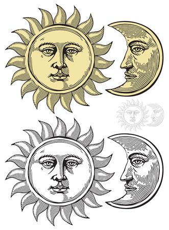 Ilustración de Sun and Moon with faces - Imagen libre de derechos