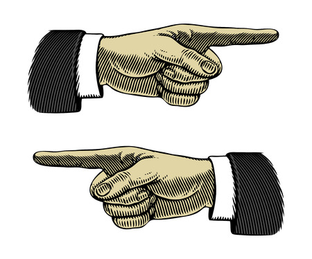 Illustration pour Hand with pointing finger left and right                                - image libre de droit
