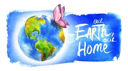 Painted in watercolor banner for earth day.