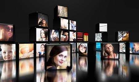 Foto de Television screens on black background with copy space - Imagen libre de derechos