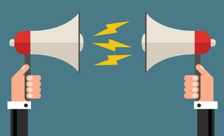 Ilustración de Businessman with different opinions concept, flat design vector illustration - Imagen libre de derechos