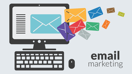 Ilustración de Business computer with email marketing. Vector concept for online advertising - Imagen libre de derechos