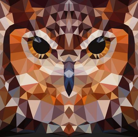 Owl head vector background, geometric modern illustration