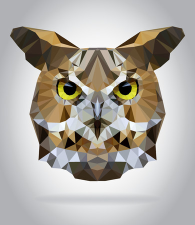 Illustration for Owl head vector isolated, geometric modern illustration - Royalty Free Image
