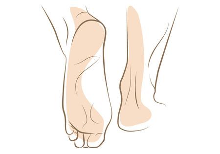 Ilustración de Woman foot sketch, drawn in vector lines - Imagen libre de derechos