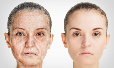 Photo for Aging process, rejuvenation anti-aging skin procedures. Old and young concept - Royalty Free Image