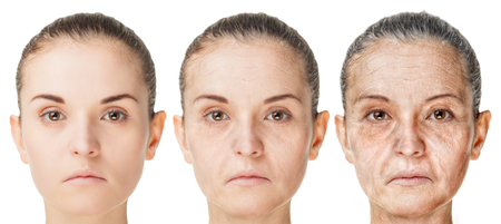 Photo pour Aging process, rejuvenation anti-aging skin procedures. Old and young faces isolated on white background - image libre de droit