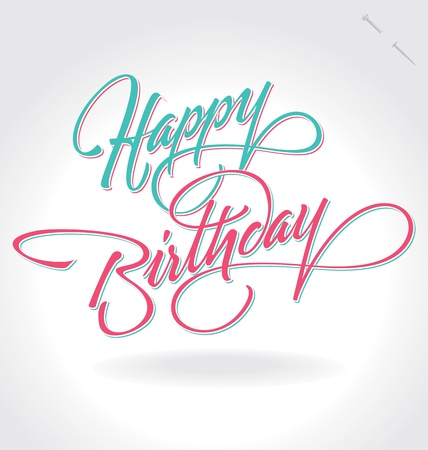 happy birthday hand lettering (vector)