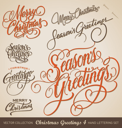 Illustration pour Set of 7 hand-lettered CHRISTMAS GREETINGS -- handmade calligraphy, vector  eps8  - image libre de droit