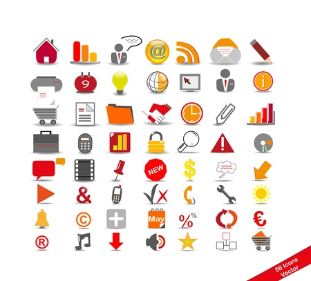 Photo pour new set with 56 icons on the business, vector - image libre de droit
