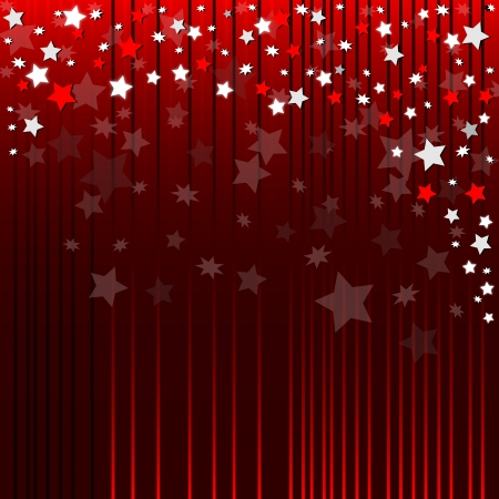 Red abstract background with bright stars