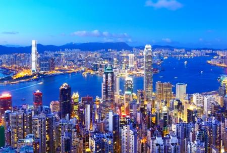 Foto de Hong Kong skyline at night - Imagen libre de derechos