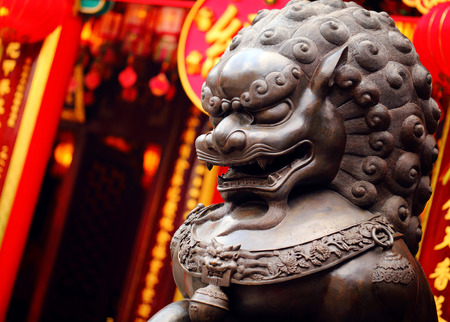 Photo for Lion statue in Chinese temple - Royalty Free Image