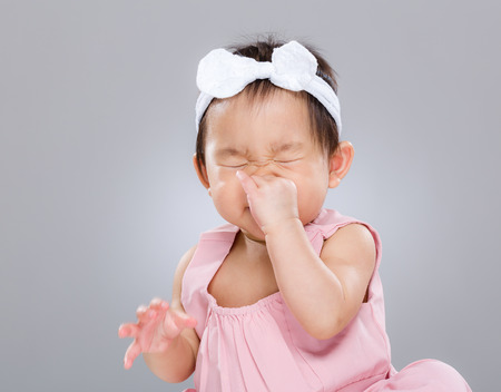 Photo for Baby girl sneeze - Royalty Free Image