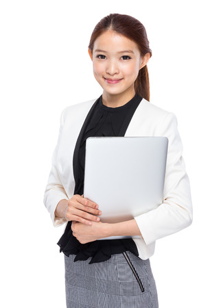 Photo pour Asian young secretary with notebook computer - image libre de droit