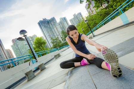 Photo for Exercise woman stretch - Royalty Free Image