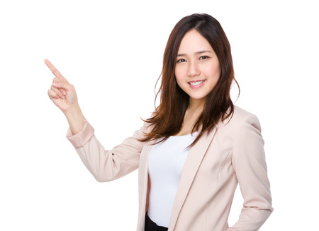 Photo pour Asian businesswoman with pointer up - image libre de droit