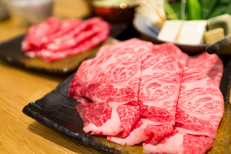 Photo for Fresh beef sliced for japanese hot pot - Royalty Free Image