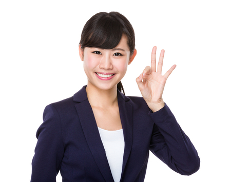 Photo for Businesswoman with ok sign gesture - Royalty Free Image
