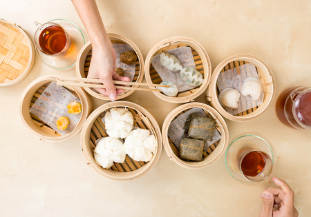Photo for Top view of eating with dim sum - Royalty Free Image