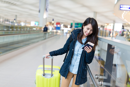 Photo for Woman travel with luggage in airport - Royalty Free Image