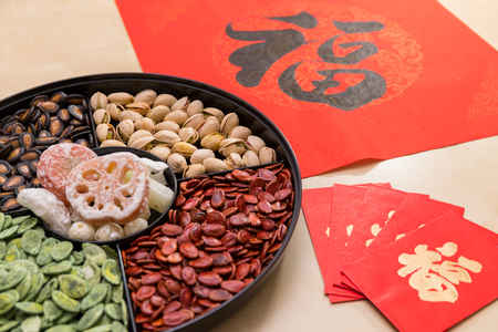 Foto de Chinese new year snack tray with red packet and couplet word mean luck - Imagen libre de derechos