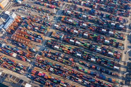 Photo for Kwai Tsing, Hong Kong, 12 February 2019: Aerial of Container Terminals in Hong Kong - Royalty Free Image