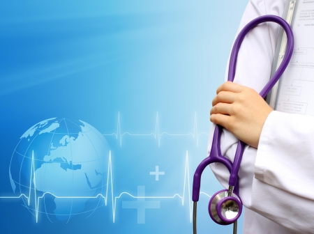 Doctor with medical blue background