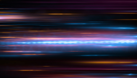 Photo pour Lights and stripes moving fast over dark background. Orange and bluel backdrop from fast moving glow particles.3d Illustartion  - image libre de droit