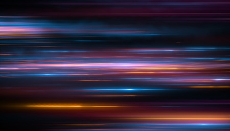 Foto de Lights and stripes moving fast over dark background. Orange and bluel backdrop from fast moving glow particles.3d Illustartion  - Imagen libre de derechos