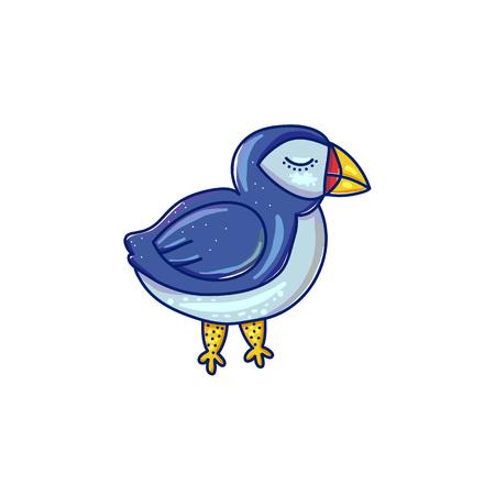 Cartoon doodle sea bird vector illustration isolated on white