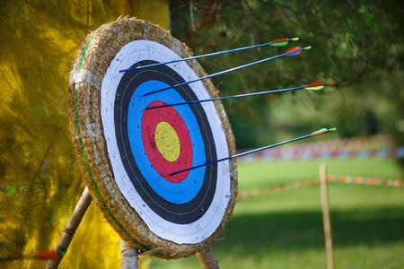 Photo pour Arrows missed target. concept of fail-diligent - image libre de droit