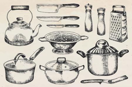 Illustration pour Kitchenware set. Beautiful tableware and kitchen utensils illustration - image libre de droit