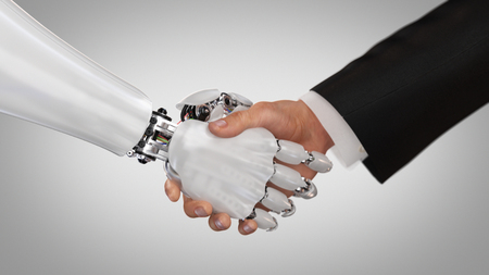 Photo for Robot and Man Shaking Hands. 3d render. - Royalty Free Image