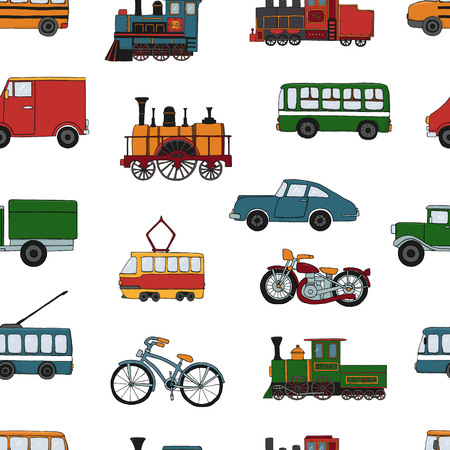 Illustration pour Vector colored seamless pattern of retro engines and transport. Vector repeat background of vintage trains bus, tram, trolleybus, car, bicycle, bike, van, truck isolated on white background. Cartoon style endless illustration of old means of transport for children - image libre de droit