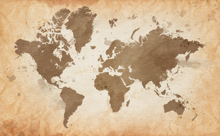Photo pour Illustrated map of the world with a textured background and watercolor spots. Grunge background. vector - image libre de droit